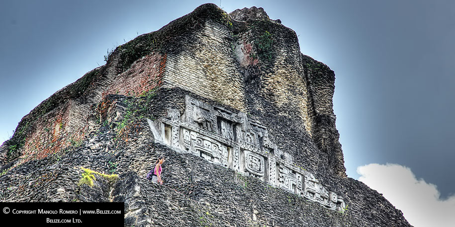 View of the west side frieze at Xunantunich Maya Site in western Belize.